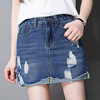 Юбка женская джинсовая короткая с потертостями