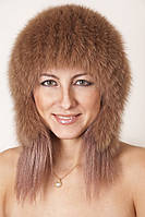 Женская шапка из меха песца на трикотажной основе  tksb8-009 Светло-Коричневый