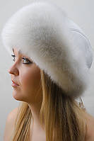 Зимняя шапка из кожи и меха Vika-111  Белый