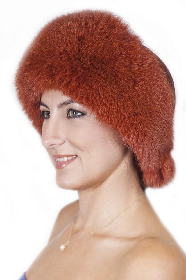 Зимняя женская шапка из кожи и меха Vika-111  Рыжий