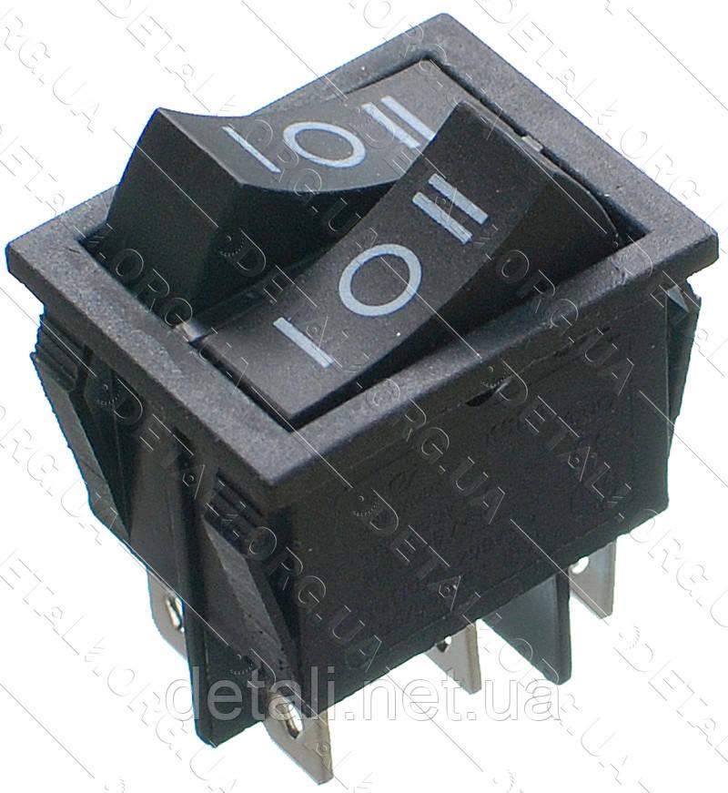 Тумблер подвійний 3 положення 6 контактів 25*31 mm 16A