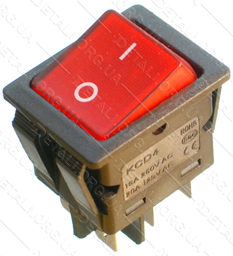 Тумблер с подсветкой 2 положения 6 контактов 25*32 mm 16A