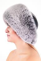 Женская шапка из кожи и меха Vika-111 Серо-Белый