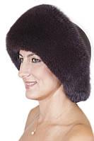 Зимняя шапка из кожи и меха Vika-111  Баклажан