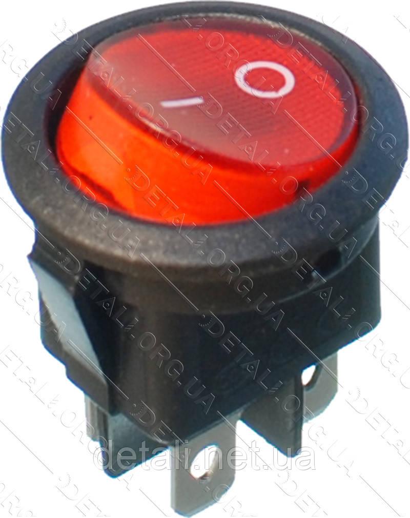 Тумблер круглий 4 контакту з підсвічуванням d23 mm 6A
