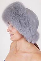 Зимняя шапка из кожи и меха Vika-111  Светло-серый