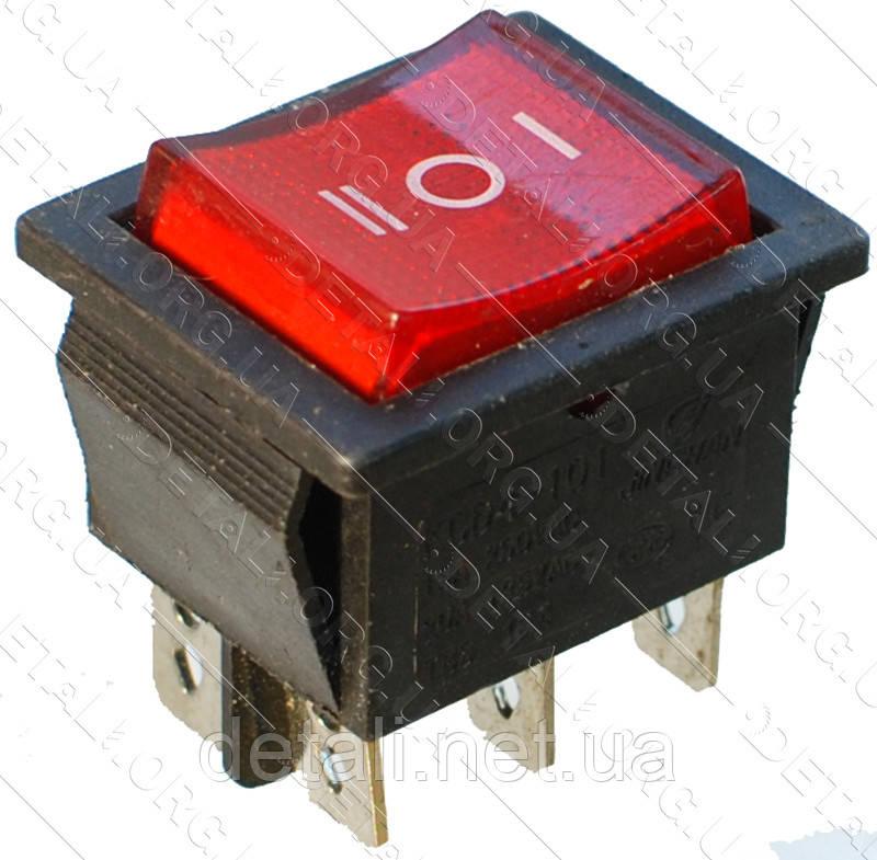 Тумблер з підсвічуванням 3 положення 6 контактів 25*31 mm 15A