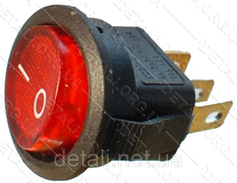 Тумблер з підсвічуванням 2 положення 3 контакту круглий d17 mm 6A