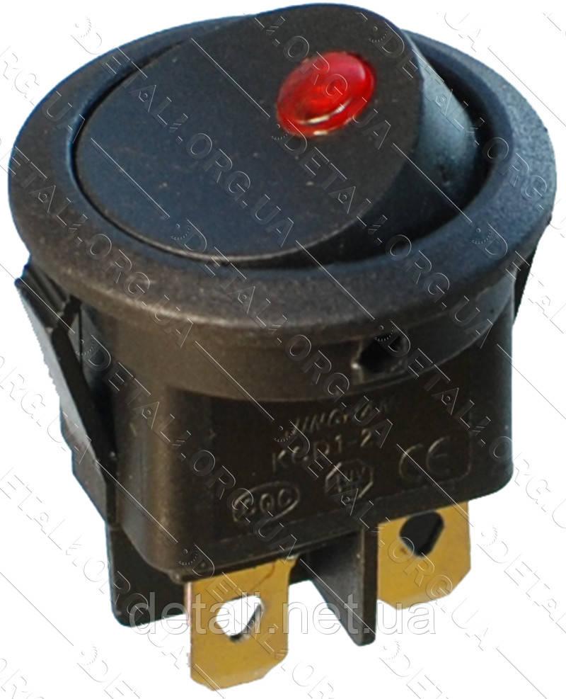 Тумблер круглий 2 положення 4 контакту світлодіод d 23 mm 6A