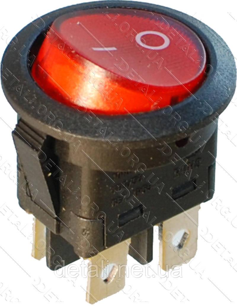 Тумблер з підсвічуванням круглий 2 положення 4 контакту d23 mm 6A