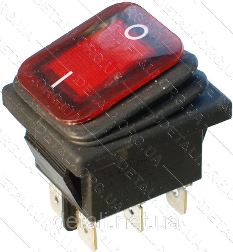 Тумблер с подсветкой 2 положения 6 контактов 28*35 mm с пыльником 16A