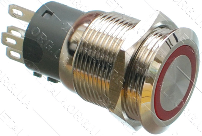 Кнопка антивандальна d22mm різьблення 19mm h32mm 5 контактів індикація
