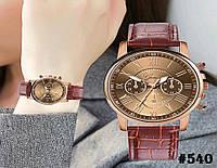 Женские кварцевые наручные часы / годинник Geneva Platinum коричневого цвета (540)