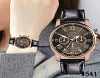 Женские кварцевые наручные часы / годинник Geneva Platinum чёрного цвета (541)