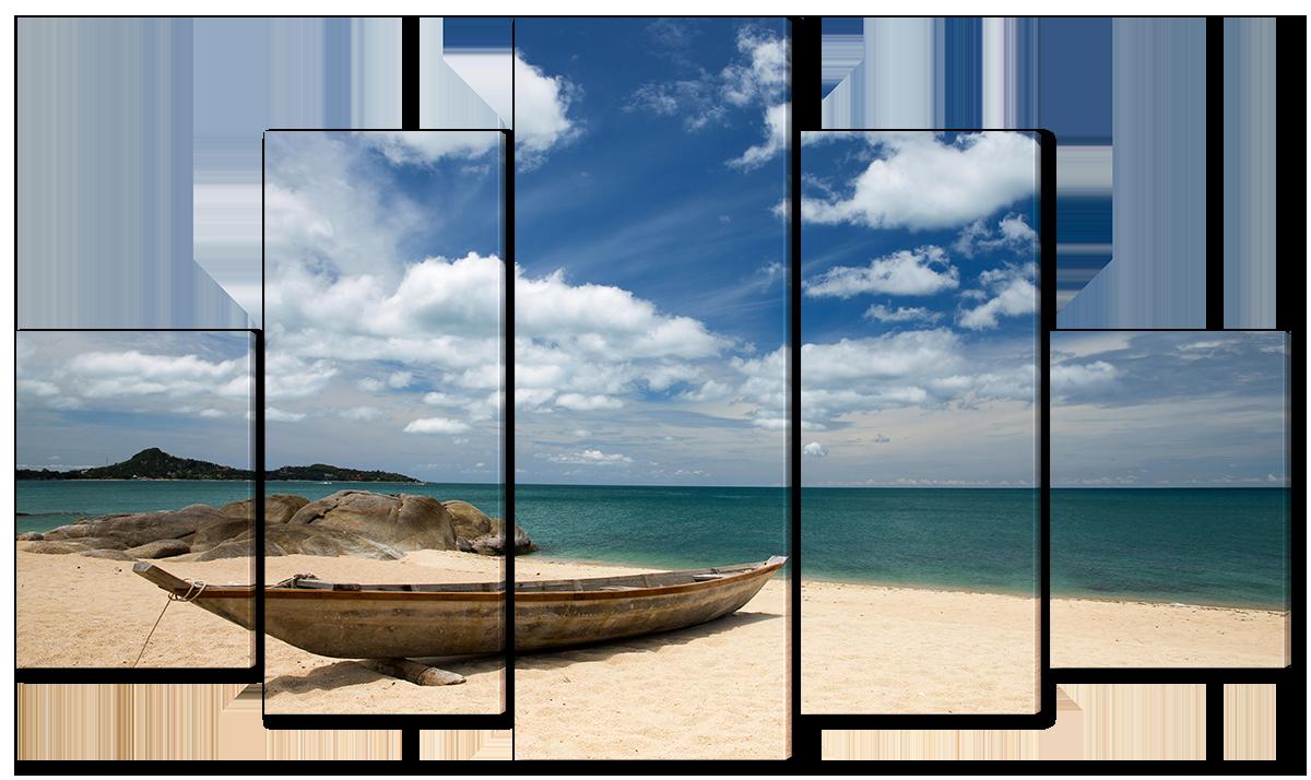 Модульная картина Interno Эко кожа Лодка на побережье 185х106см (A1558XXL)