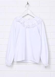 Блуза белая для девочки с кружевом и длинным рукавом