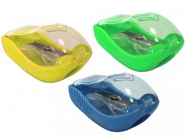 Точилка пластиковая с контейнером и клипом ассорти Pointer