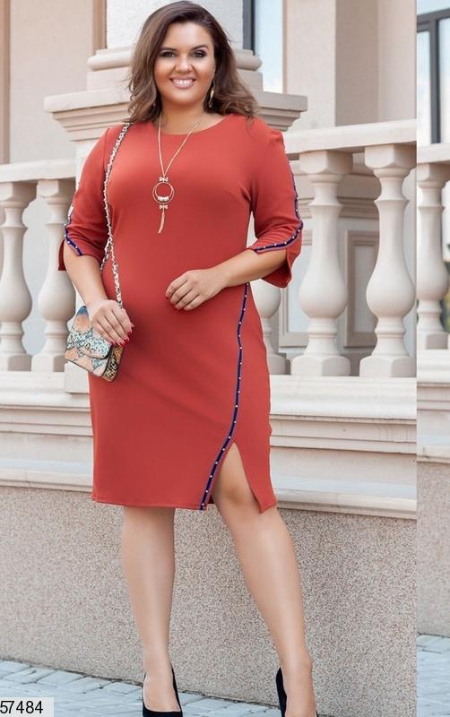 Нарядное платье больших размеров терракотовое