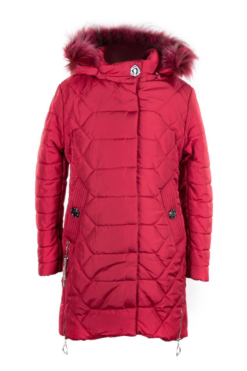 Куртки зимние для девочки подростка  интернет магазин  32-40 бордовый