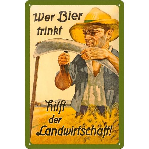 Табличка Nostalgic-Art Wer Bier trinkt hilft der... (22198)