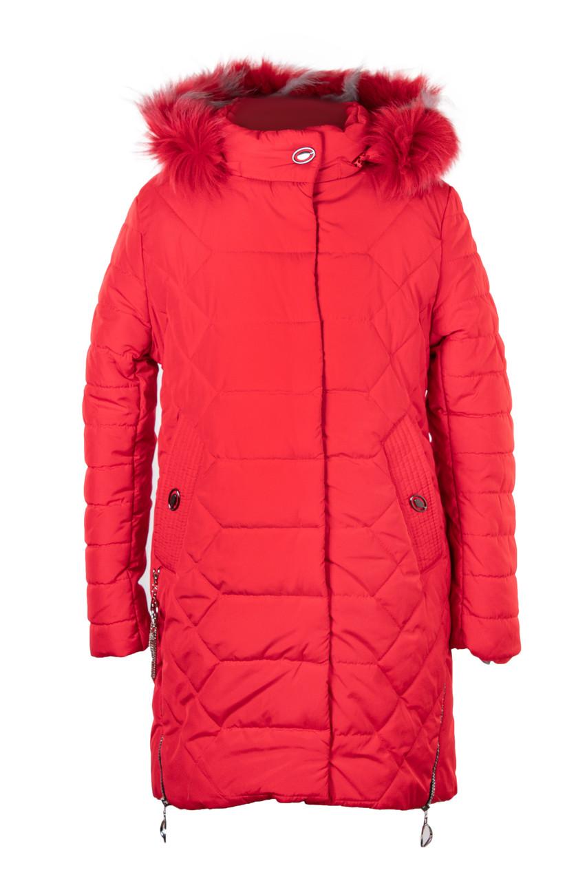 Зимняя куртка парка для девочки подростка от производителя  32-40 красный