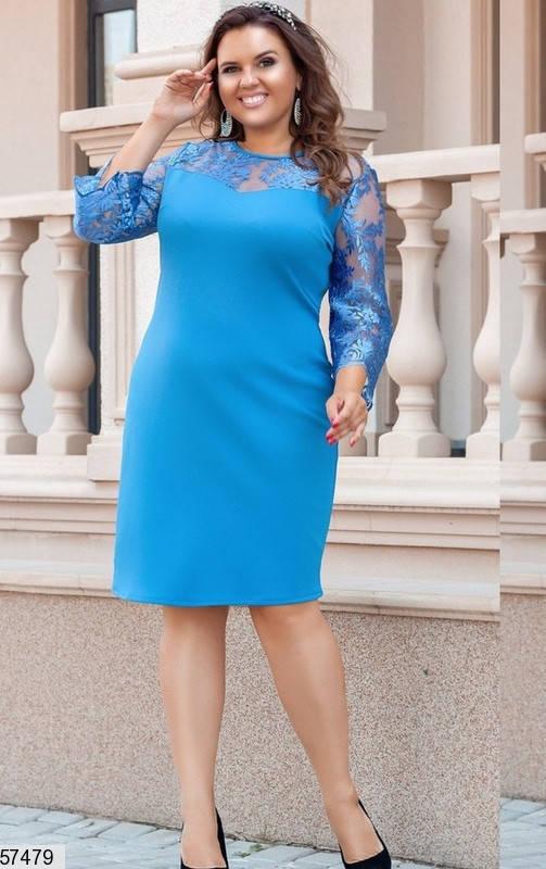 Нарядное платье больших размеров с гипюром голубое, фото 2