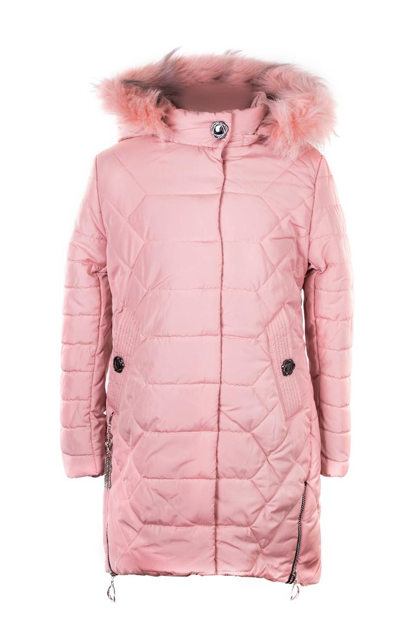 Зимние куртки для девочки  подростка   32-40 розовый