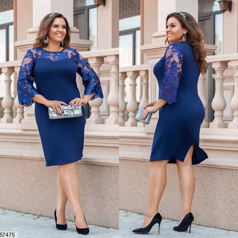 Нарядное платье для полных с гипюром синее, фото 2