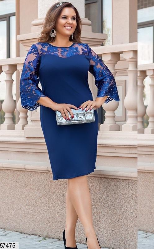 Нарядное платье для полных с гипюром синее