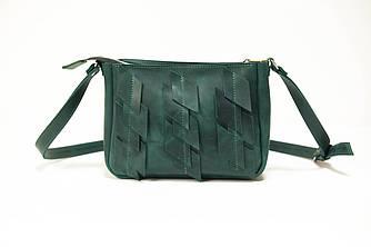Сумка женская. Кожаная сумочка Надежда с узором Винтажная кожа цвет Зеленый