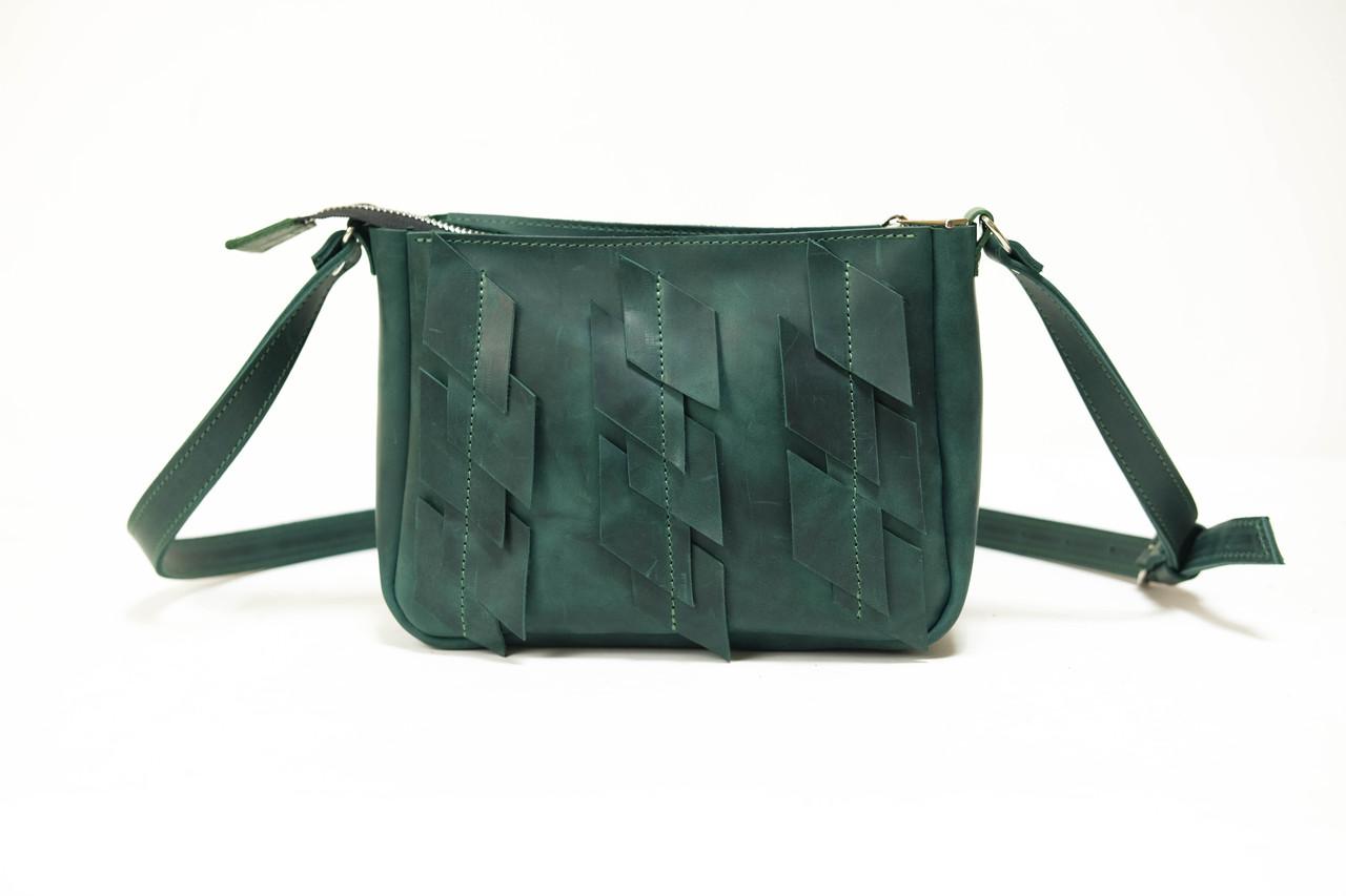 """Женская сумка """"Модель №30 с узорами"""" Винтажная кожа цвет Зеленый"""