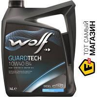Всесезонное моторное полусинтетическое масло Wolf для двигателей тип бензиновый, дизельный, турбодизельный 10w-40 4 Guardtech 10W40 B4 4л (8303814)