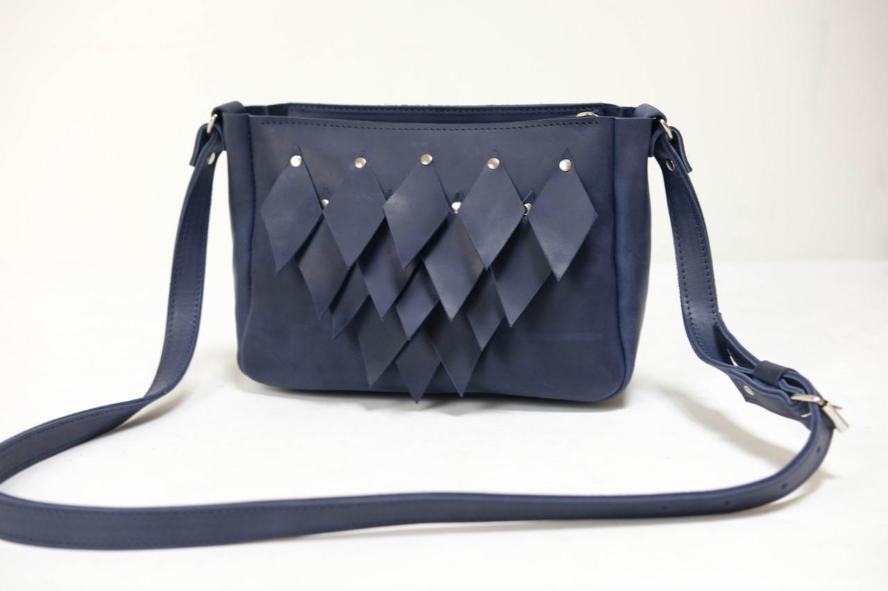 Сумка женская. Кожаная сумочка Надежда с узором Винтажная кожа цвет Синий