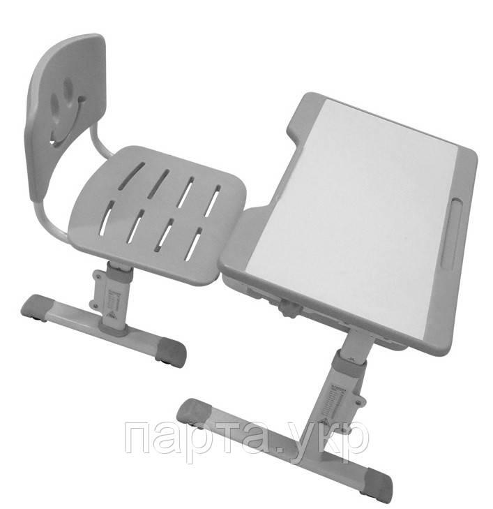 Детская парта и стул, ниша-полка, серый