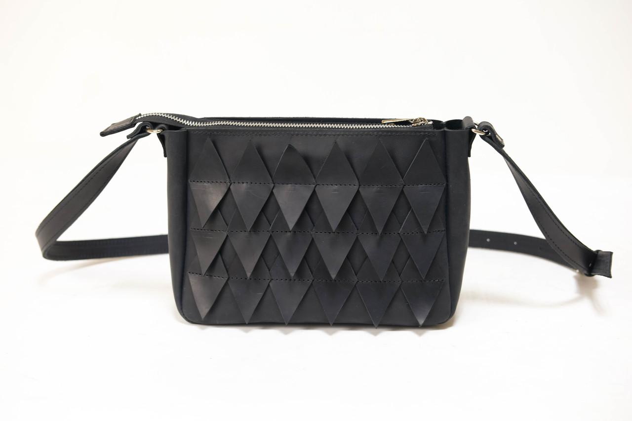 """Женская сумка """"Модель №30 с узорами"""" Винтажная кожа цвет Черный"""