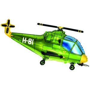 Фольгированный шар Вертолет 57см х 96см Зеленый