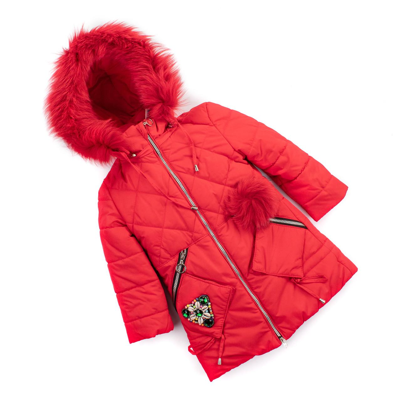 Пуховики на девочек  зимний интернет магазин  28-36 красный