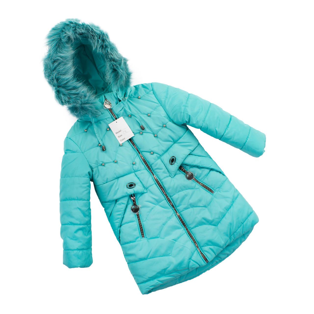 Зимняя курточка для девочки натуральным мехом  28-36 бирюза