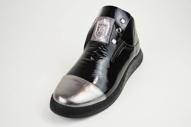 Слипоны черно-серебристые кожаные Evromoda 272, фото 2