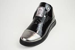 Слипоны черно-серебристые кожаные Evromoda 272