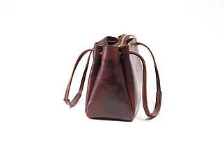 Сумка женская. Кожаная сумочка Азия Кожа Итальянский краст цвет Вишня, фото 2