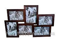 Фоторамка семейная на 6 фото, коричневая с подставкой (дерево)