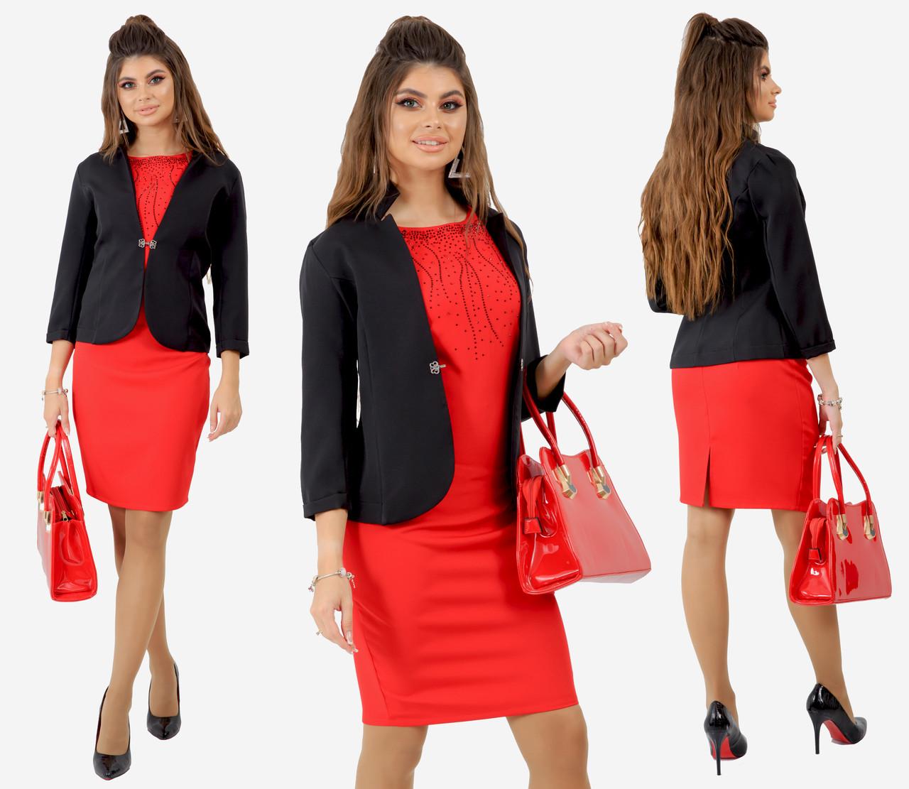 """Классический костюм  """"Ballot""""  черный с красным, декор стразы, платье с пиджаком  231-92"""
