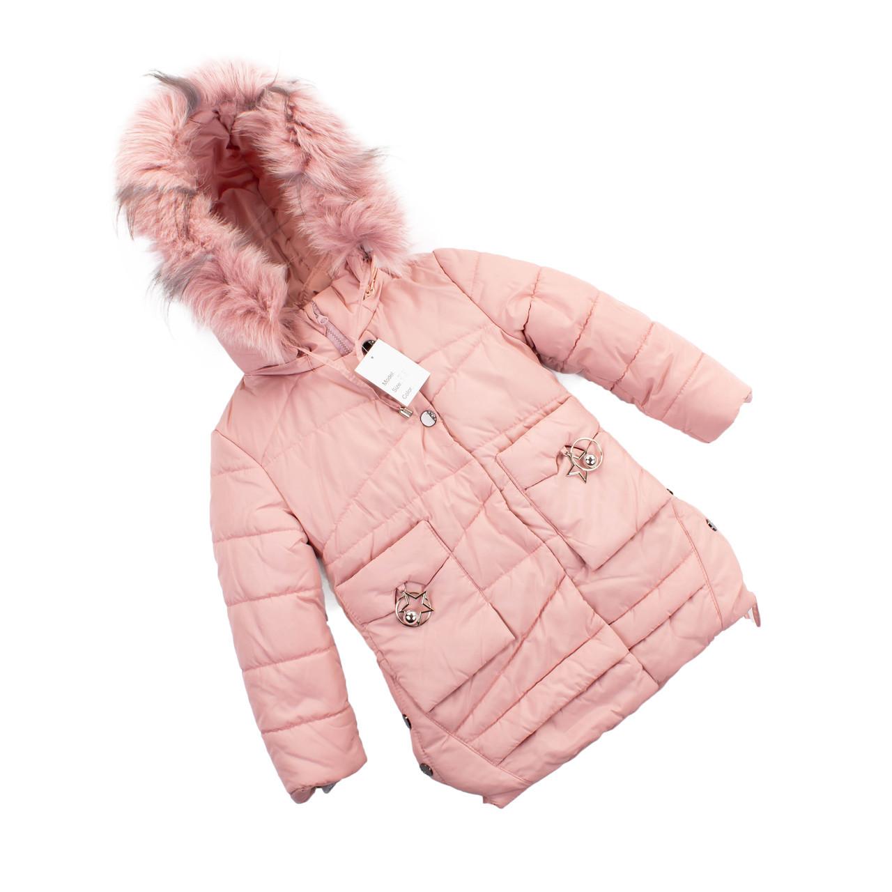 Детские зимние куртки для девочек  с натуральным мехом  28-36 розовый