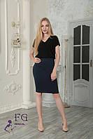 Трикотажная юбка шьется с завышеной талией, а пояс посажен на широкую резинку