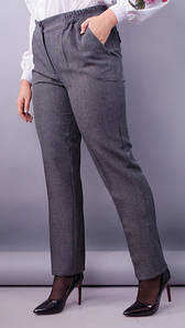 Элия лён. Женские батальне брюки в классическом стиле. Серый,синий