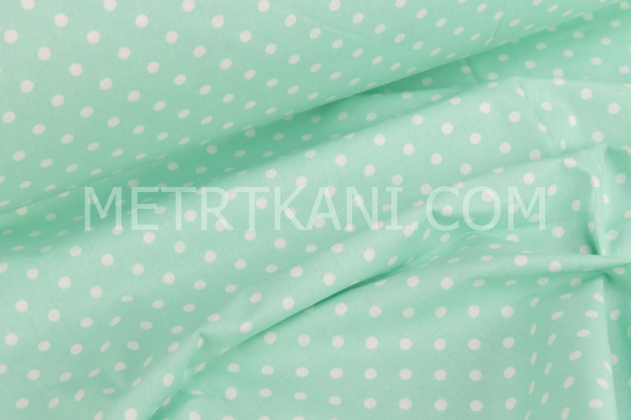Ткань хлопковая белый горох 4мм на мятном 135 г/м №652