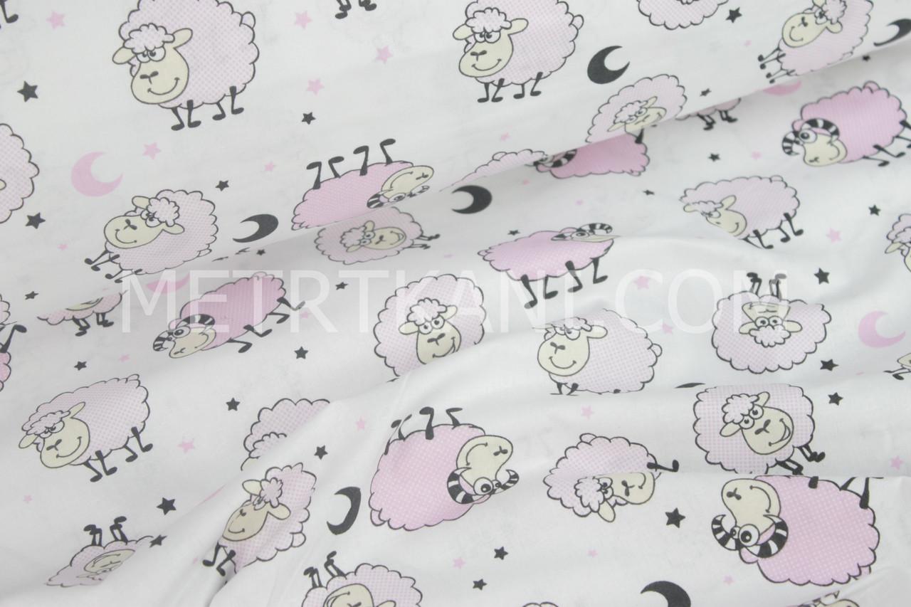 """Ткань бязь """"Веселые овечки""""  розовые на белом №896"""