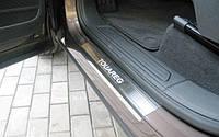 Защитные хром накладки на пороги volkswagen touareg II (фольксваген туарег 2) 2010г+