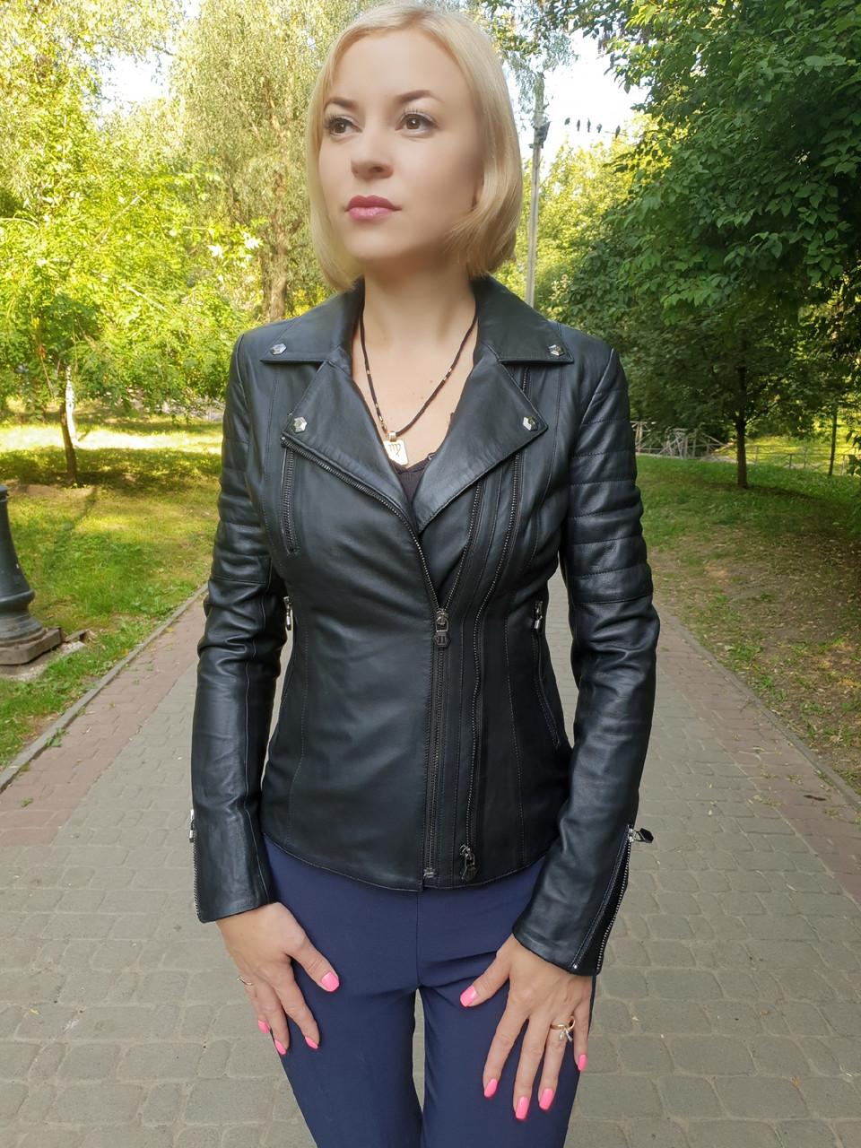 Женская кожаная куртка в стиле Philipp Plein